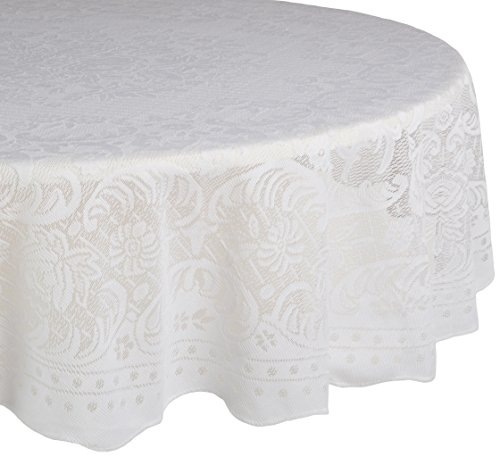 "DII Home Essentials 100% Polyester, Machine Washable, Shabby Chic, Vintage Tablecloth or Overlay 63"" Round, Victorian Rosebud"