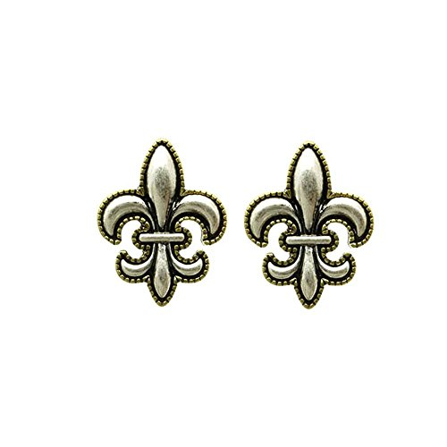 Icecarats Designer Jewelry Fashion Aged Finish 1 Inch Drop Silver Tone Post Pin Fleur De Lis Earrings