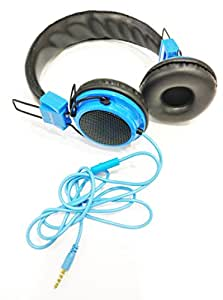 MobileGabbar Compatible For Chilli A730 Aux Wired Headphone with Mic-Blue