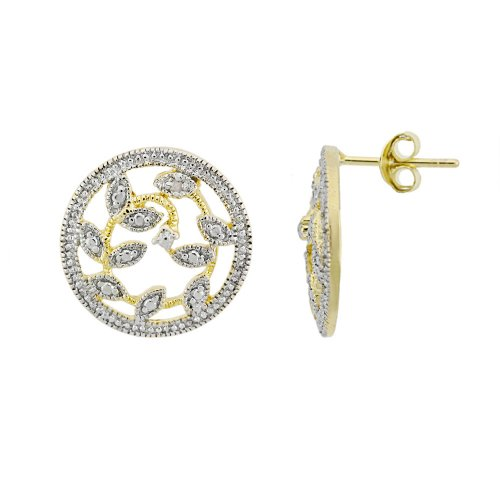 18k Yellow Gold Overlay Sterling Silver Diamond-Accent Vine Medallion Earrings