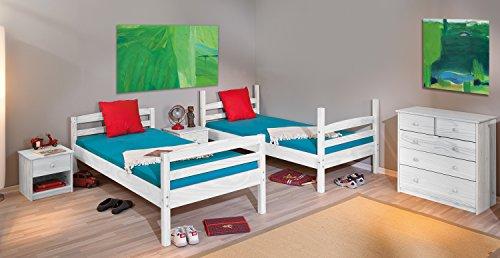 Links 20900260 Rick Lit Superposé avec Sommiers Blanc 200 x 102 x 148 cm