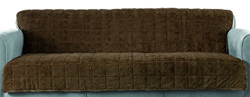 Surefit Faux Fur Throw Armless Sofa/Stool Cover, Chocolate