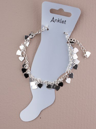 Girls Silver effect Anklet with Cascading Silver Effect Hearts