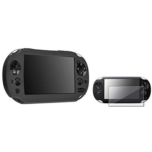 Everydaysource® Compatible With Sony Playstation Vita 2000 Controller Black Silicone Skin Case + Anti-Glare Screen Protector