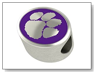Clemson Tigers Collegiate Bead Fits Most Pandora Style Bracelets Including Pandora Chamilia Zable Troll and More. High Quality Bead in Stock for Immediate Shipping. Officially Licensed