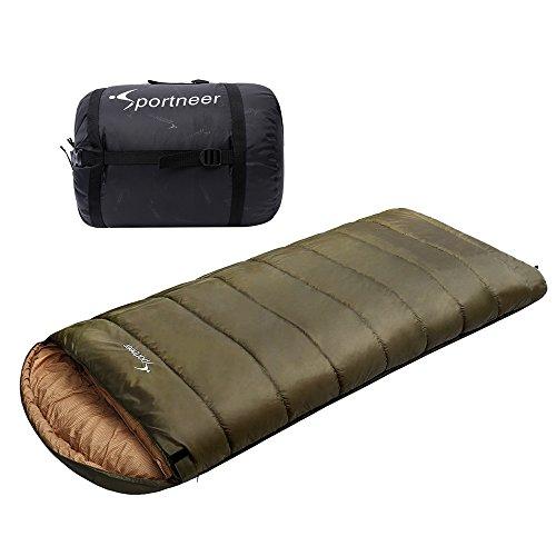 Sportneer-18C0F-Sleeping-Bag-90-x-39-BONUS-Compression-Sack-Army-Green
