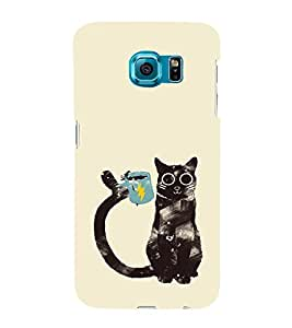 EPICCASE cat with cup Mobile Back Case Cover For Samsung Galaxy S6 Edge (Designer Case)