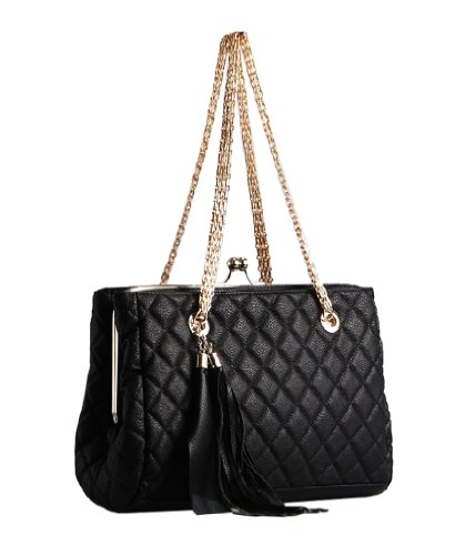 Pu Leather Quilted Metal Chain Black Handle Satchel Purse Hobo Handbag Tote