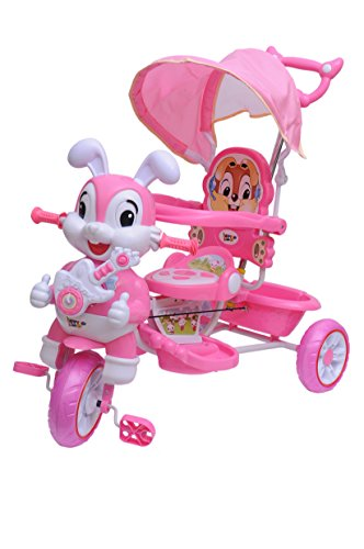 Happy Kids Tricycle with Guiding Handle and Canopy (Pink)
