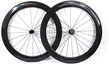 Farsports-700c Road 60mm Full Carbon Clincher Road Bicycle Wheels - Black - Campagnolo