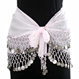 WHITE & SILVER DANGLING COINS BELLY HIP DANCE WRAP BELT
