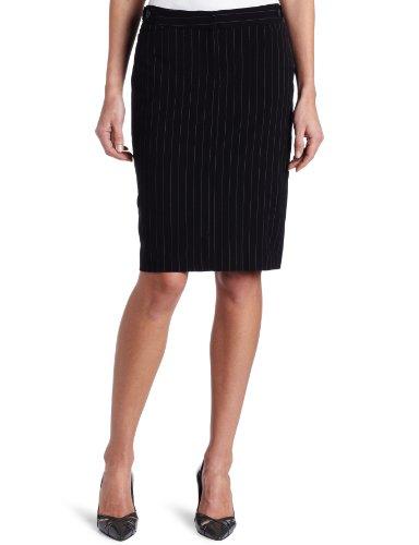 KAMALIKULTURE Women's Pencil Skirt, Black Pinstripe, 2