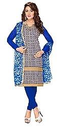 Fabgruh Presents Chanderi Dress Material(Blue)