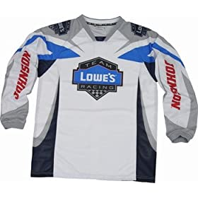Jimmie Johnson Lowes White Motorcross Jersey by RacingGifts