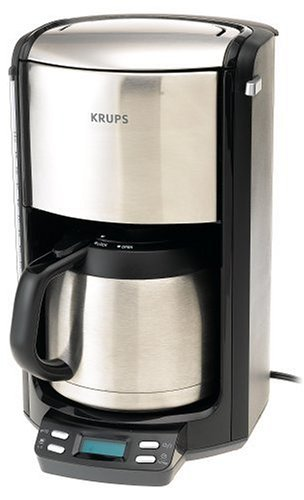 KRUPS FMF514 Programmable 10-Cup Coffee Maker with double wall thermal carafe and LED control ...
