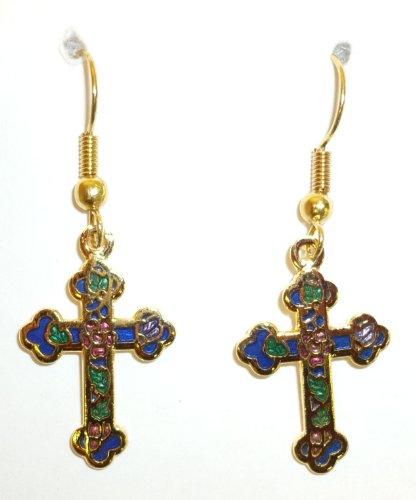 Black Cloisonne Cross Pierced Earring