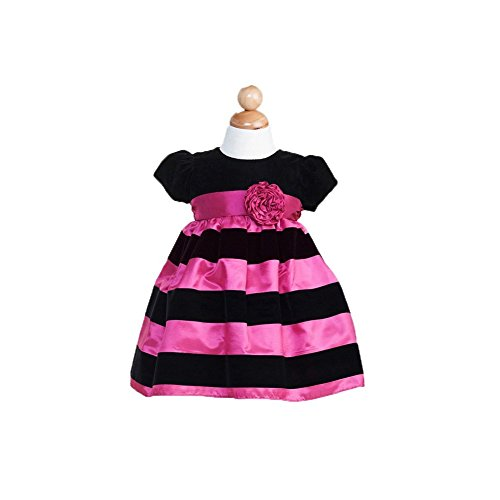Crayon Kids Baby Girls Fuchsia Black Striped Christmas Dress 6-9M front-903870