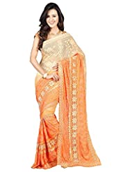 Bano Tradelink Women's Georgette Saree (Btl_Tr-Mn09, Orange)