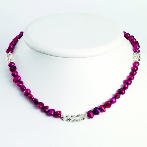 Sterling Silver Magenta Freshwater Cultured Pearl Necklace