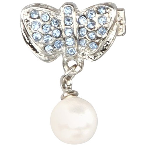 Light Blue CZs Pearl Silver Rhodium Overlay Butterfly Pin Brooch Pendant
