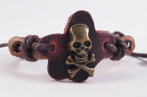 Mens Adjustable Tribal Leather Skull Bracelet