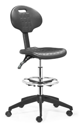 Ark Office and Bar Chair with Adjustable Height and Rolling Base, Black
