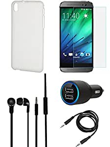 NIROSHA Tempered Glass Screen Guard Cover Case Car Charger Headphone for HTC Desire 816 - Combo
