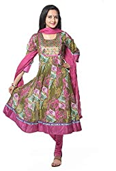 Vastra Vinod Womens Cotton Anarkali Unstitched Dress Material (Vtas43-L _Green)