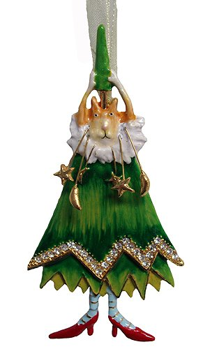 Department 56 Krinkles Jeweled Cat With Tree Hat Christmas Ornament #36045