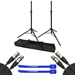 VRT Pro Audio Tripod Speaker Stands with Bag w/ 20\' XLR Cable Pair & Cable Ties