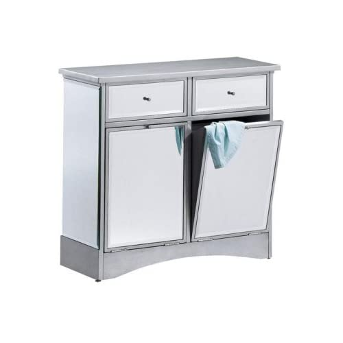 mirrored tilt out hamper dbl w 2 drwrs antique silver laundry hampers. Black Bedroom Furniture Sets. Home Design Ideas