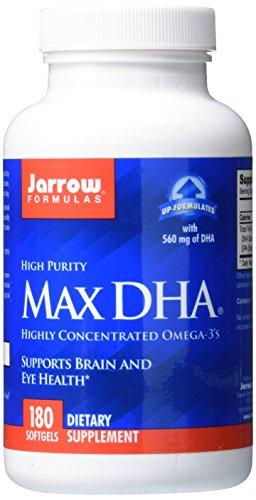 Jarrow Formulas Max DHA , Supports Brain and Eye Health, 180 Softgels