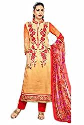 Lebaas Red and Beige Designer Straight Cut (With Discount and Sale)