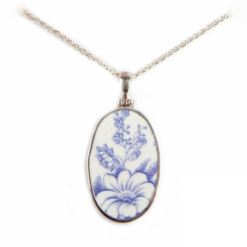 Pavo Jewelry Vintage Porcelain and 925 Sterling Silver Pendant, Antique Indigo Flower Design, Ostindia Pattern from the Historic Rörstrand Castle (Oval)