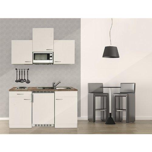 respekta Kuchenblock 150 cm weiß weiß mit APL Butcher Nussbaum inkl. Mikrowelle KB 150 WWMI