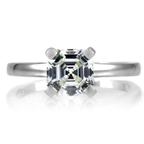 Celebrity Star Emitations Devon's 1.5 CT Asscher Cut CZ Wedding Ring Set - Gold Size 7