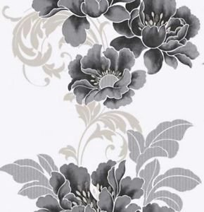 Graham + Brown Cascada Black + White Wallpaper from New A-Brend