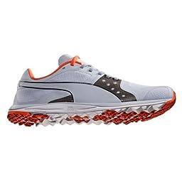 PUMA Men\'s Faas Xlite Golf Shoe, Gray Dawn/Black/Vibrant Orange, 9 M US