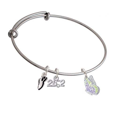 Translucent Purple & Lime Green Flying Butterfly Running Shoe And 26.2 Expandable Bangle Bracelet