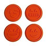KurtzyTM 5 Piece Emoji Smiley, Happy, Laughing Face Cookie Cutter Stamp Stamper Press