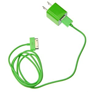 EarlyBirdSavings 3Ft 0.9M USB Sync Data Cable plus Wall AC Charger Green for Apple iPhone 4 4S 3GS