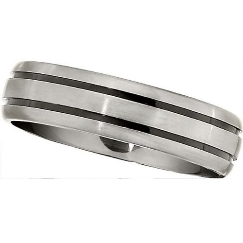 6.0mm Titanium Black Enamle Domed Band Size 11