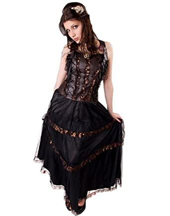 Aderlass Steampunk Longdress Sky Brown Black (Marron Noir) (taille XXL