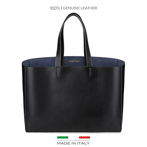 Made In Italia - Borsa Shopping Bag Realizzata In 100% Pelle Saffiano Con Due Manici Nero