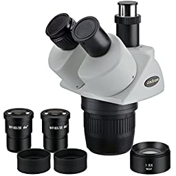 AmScope SW13TY Trinocular Stereo Microscope Head, WH10x Eyepieces, 10X/15X/30X/45X Magnification, 1X/3X Objective, Includes 1.5x Barlow Lens