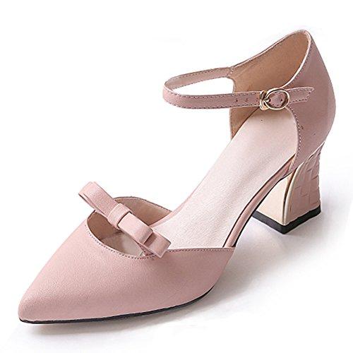 scarpe in estate e in autunno/Arco punta con tacco alto/Grezzo con piccolo in pelle chiaro-A Lunghezza piede=24.3CM(9.6Inch)