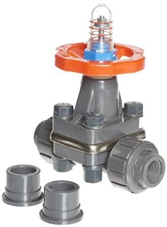 "Hayward DAB1005UFF DAB Series PVC Diaphragm Valve, FPM Diaphragm, FPM Seals, 1/2"" Socket and Threaded Connections"