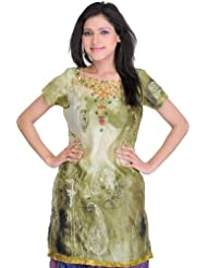 Exotic India Gleam-Green Digital-Printed Kurti With Paisleys - Green