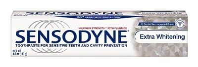 Sensodyne Toothpaste for Sensitive Teeth & Cavity Protection, Extra Whitening 4 oz