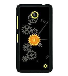 printtech Cool Mechanical Orange Design Back Case Cover for Nokia Lumia 630